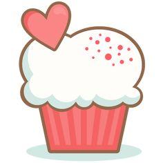 Valentine Cupcake scrapbook cuts SVG cutting files doodle cut files for…