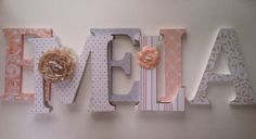 Wooden letters for nursery in peach tan gray by SummerOlivias