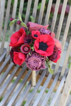 Custom Felt Flower Wedding Bouquet by TheFeltFlorist on Etsy
