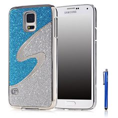 Galaxy S5 Case,Vfunn Elegant Silver Plating Bling Hard Back Case Cover for Samsung Galaxy S5 with 1 Screen Protector 1 Clean Cloth Cleaner 1 Blue Stylus Pen (Galaxy S5) (Blue/Silver) Vfunn