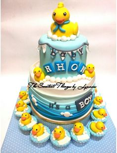 Rubber Duckie Baby Shower Cake.... Maybe Ill Make The Cupcakes Vegan And