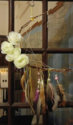 Dreamcatcher with flowers Dreamcatchers, Ladder Decor, Flowers, Home Decor, Decoration Home, Room Decor, Dream Catcher, Wind Chimes, Royal Icing Flowers