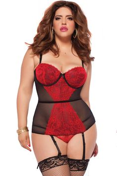 c26e4e491f5d4 Sweet Sins Bustier - Red - - Get the figure you want with this floral  galloon lace and mesh bustier with underwire support and molded balconette  cups.