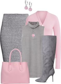 A fashion look from November 2014 featuring oversized turtleneck, pink cardigan and slit skirt. Browse and shop related looks.--- I would not wear the necklace with this outfit other than that perfect ; Fashion Mode, Work Fashion, Fashion Looks, Womens Fashion, Fashion Trends, Classy Outfits, Chic Outfits, Fall Outfits, Fashion Outfits