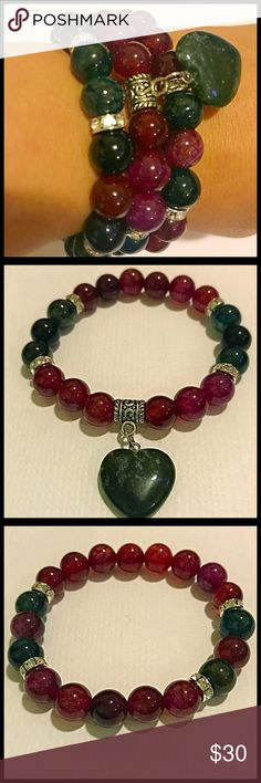 Set of 3 bracelets. Natural Stone Beads. This is a Tourmaline Agate mixed with Red Jade Stone Bead Set of 3 Bracelets with a natural Indian Agate heart charm. Great as a Christmas present.  Bracelets are stretchy and can fit a small to medium sized wrist.   Take a closer look at my pictures, if you have any questions about my products I would be happy to answer them.  Thank you for looking! Hope you like what you see! Jewelry Bracelets