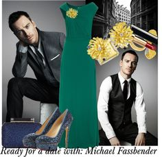 "#ISSA Asym #Maxi Forest Green Floor-length #evening #gown, #Bow #Yellow #Sapphire and #White #Diamond #Ring, #gold #flower #brooch, #gold flower #earrings, #CharlotteOlympia Priscilla #Glitter #Platform #Pumps, #DianevonFurstenberg Tonda crystal-embellished leather #clutch, #chanel #lipstick. ""Ready for a date with: Michael Fassbender"" by jinath-hyder on Polyvore"