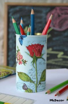 decoupaged tin can by Mk Decor