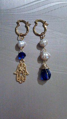 Arracadas azul rey perla de rio chapa de oro