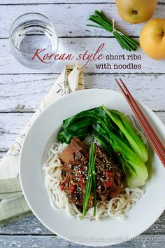 Slow Cooked Korean-style Short Ribs with Noodles | Kitchen Confidante