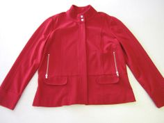 Womens Jacket Chicos Size 1 or M Medium Red Zip Front LS Long Sleeve #Chicos #BasicJacket