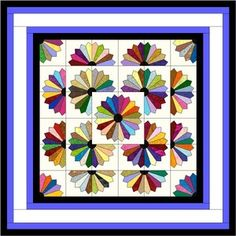 PRE-CUT POINTED FAN AND DRESDEN PLATE QUILT KIT.