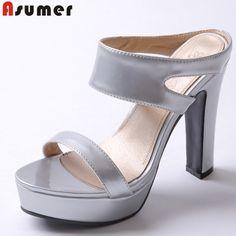 $46.00 (Buy here: https://alitems.com/g/1e8d114494ebda23ff8b16525dc3e8/?i=5&ulp=https%3A%2F%2Fwww.aliexpress.com%2Fitem%2FPlus-size-34-43-new-fashion-High-heels-women-sandals-open-toe-ladies-slides-summer-party%2F32631358543.html ) Plus size 34-43 new fashion High heels women sandals open toe ladies slides summer party wedding shoes woman silver green pink for just $46.00