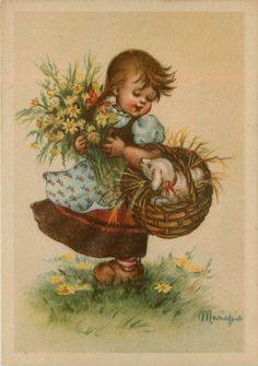 Artist Signed Mariapia Girl Flowers Lamb in Basket Vintage Postcard | eBay