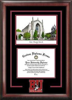 Boston University BU Alumni Mahogany Diploma Frame