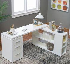 Hudson L-Shaped Desk – White – Executive Home Office Design L Shaped Office Desk, Cool Office Desk, White Desk Office, White Desks, Home Office Space, Home Office Desks, Office Decor, Office Ideas, White L Shaped Desk