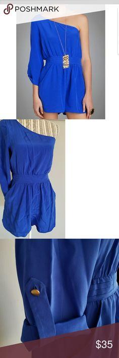 Charlie Jade blue romper Beautiful cobalt blue silk romper. One shoulder.  Sleeve can be worn long or 3/4. Can be worn with a belt or as is. EUC Size S Charlie Jade Dresses Mini
