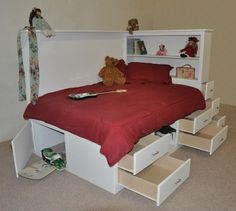 This Orlando bed has all the storage a teen could ever need. There is even space for a snowboard or skis underneath!