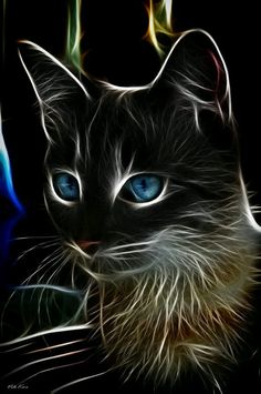 cat by Viktor Korostynski Another stunning animal-fractal art piece. The blue eyes contrast so neatly with the face. I love cats and I love this art! I Love Cats, Crazy Cats, Cool Cats, Art Fractal, Airbrush Art, Warrior Cats, Cat Drawing, Beautiful Cats, Beautiful Artwork