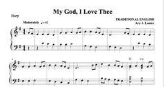 $1.50 Harp Music: My God, I Love Thee Harp, Sheet Music, God, My Love, Dios, Allah, Music Sheets, The Lord
