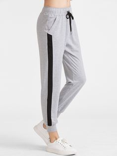 SheIn offers Heather Grey Contrast Panel Drawstring Sweatpants & more to fit your fashionable needs. Sweatpants With Pockets, Cute Sweatpants, Sweatpants Outfit, Jogger Sweatpants, First Date Outfits, Lazy Day Outfits, Sporty Outfits, Teen Fashion Outfits, Cool Outfits