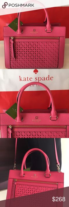 KATE SPADE NEW SHOULDER BAG 100% AUTHENTIC KATE SPADE NEW PINK LASER CUT PEBBLE LEATHER SHOULDER/ HANDLE BAG.  STUNNING BAG PERFECT FOR ANY OCCASION.  THIS ONE IS SURE TO BE A EYE CATCHER. THE BAG MEASURES 12 INCHES WIDE BY 9.5 INCHES TALL AND 6 INCHES DEEP. THE HANDLE HAS A 5 INCH HANDLE DROP AND THE SHOULDER REMOVABLE STRAP HAS A 16 INCH DROP kate spade Bags Shoulder Bags