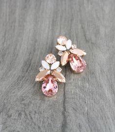 Rose gold earrings, Bridal earrings, Crystal earrings, Bridal jewelry, Wedding earrings, Swarovski earrings, Opal earrings, Blush crystal by CoutureBridalStudios on Etsy