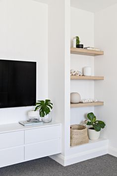 home decor scandinavian Amazing Minimalist Living Room Design Ideas To Tryroom with built-ins with open shelf decor, how to style open shelves, bookshelves next to tv in neutral living room decor with neutral home decor accessories Nordic Living Room, Home Living Room, Living Room Decor, Living Room Storage, Wall Storage, Decor Room, Living Area, Wall Decor, Interior Design Living Room