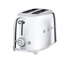 Alles in Einem!  SMEG 2-Scheiben Toaster TSF01  Der charmante SMEG 2-Scheiben Toaster TSF01 lässt die swinging 50's auferstehen und sorgt für guten Laune schon beim Frühstück! Der Toaster von SMEG bietet sechs Röststufen, seine zwei extra breiten Toastschlitze nehmen es mit allen Brotsorten auf. In dem SMEG 2-Scheiben Toaster TSF01 werden die Toastscheiben automatisch zentriert, eine herausnehmbare Krümmelschublade sorgt für Sauberkeit.
