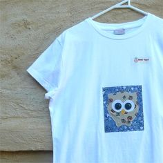 Tshirt womens owl slim fit white applique bird large by BoosTees, $18.00