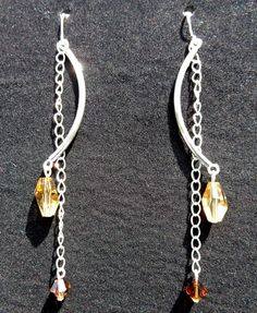 craft, crystal drop, chains, crystal earrings, beads, diy idea, swarovski crystals, dangle earrings, beading with crystals
