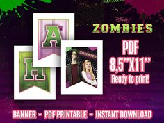 Zombies Digital Banner Happy Birthday for you