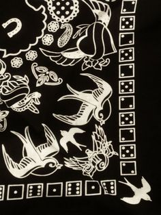 Rockabilly Print Bandana White on Black by BondStreetExit on Etsy