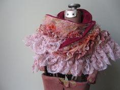 Fabric Boa, Pink Lace Scarf, Ruffle Scarf, Mori Girl Clothing, Tattered Scarf, Gypsy Clothing, Upcycled Clothing, Recycled Fabric Scarf