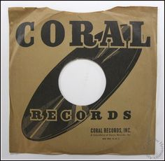1940's - 1950's Vintage Coral Records 78 RPM Paper Record Sleeve