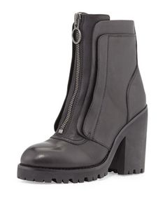 Pattie Leather Chunky-Heel Boot, Black by Ash at Neiman Marcus Last Call.