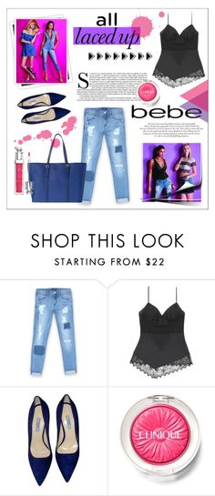 """All Laced Up for Spring with bebe: Contest Entry"" by dudubags ❤ liked on Polyvore featuring Bebe, GALA, Prada, Clinique and alllacedup"