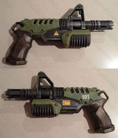 Vault 101 Fallout blaster pistol mod. Nerf super Soaker Microburst with barrel extension.