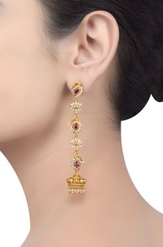 Tribe Amrapali offers unique handcrafted silver jewellery, fashion jewellery and tribal jewellery online and ships worldwide. Gold Jhumka Earrings, Indian Jewelry Earrings, Jewelry Design Earrings, Gold Earrings Designs, Ear Jewelry, Necklace Designs, Diamond Jewelry, Tanishq Jewellery, Antique Jewellery Designs