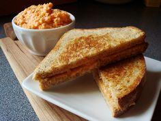 Grilled Pimento Cheese Sandwich - spread pimento cheese on bread and cook like a grilled cheese