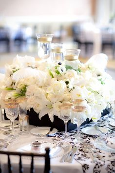 Black and White Table Centerpiece and Decor