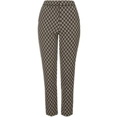 TOPSHOP Daisy Print Cigarette Trousers (292.060 IDR) ❤ liked on Polyvore featuring pants, trousers, bottoms, brown, floral pants, brown pants, floral print trousers, peg-leg pants and topshop pants