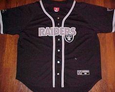 Los Angeles Oakland Raiders NFL AFC West Black Silver Logo Baseball Jersey XL #NFL #LosAngelesRaiders