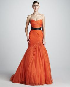 Strapless Trumpet Gown & Smooth Leather Belt