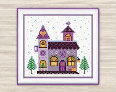 Winter house Cross Stitch Pattern PDF New Year by TimeForStitch