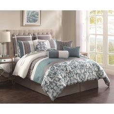 Comforter Set includes 1 comforter, 1 bedskirt, 2 shams, 2 European shams, 4 decorative pillows.