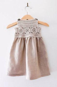 Beautiful Handmade Linen & Crochet Dress | yarnmill on Etsy