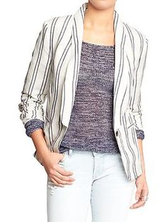 Womens Classic Linen-Blend Blazers. Reviews state this runs big. Perfect over any of your graphic T's.