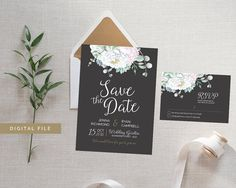 White Peony Chalkboard Save the Date Card from Casey Joan Design / Etsy Store / Watercolor / Watercolour