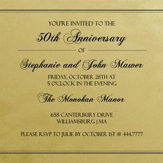 Old Fashioned Gold Script Anniversary Invite by PurpleTrail.com