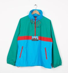 1993 windbreaker - nylon jacket with two front pockets and high collar